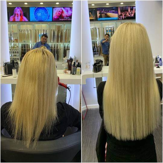 before and after result of blond hair extensions